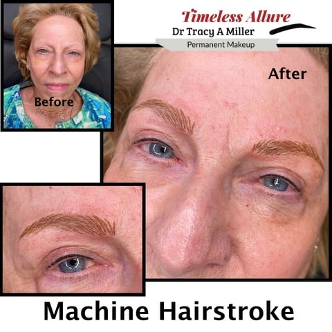 Machine Hairstroke Brows before and after